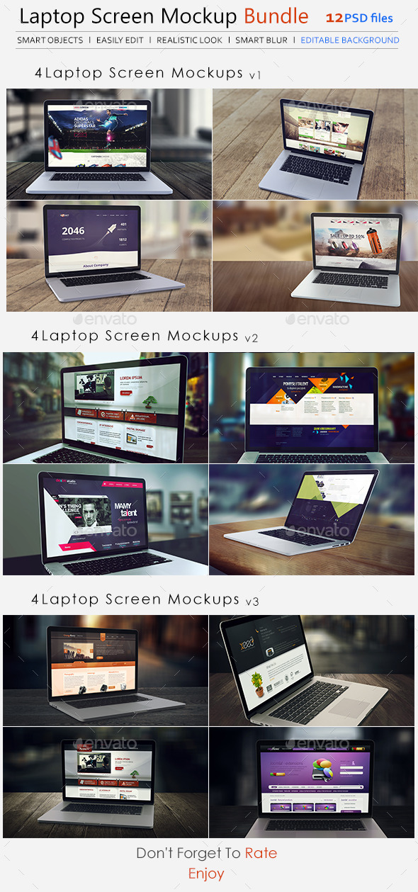GraphicRiver Laptop Screen Mockup Bundle 10095699