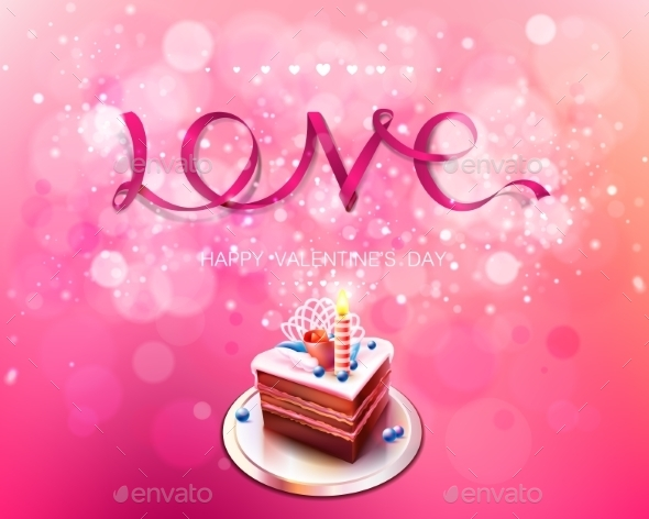 Love Pink Ribbon with Cake Background