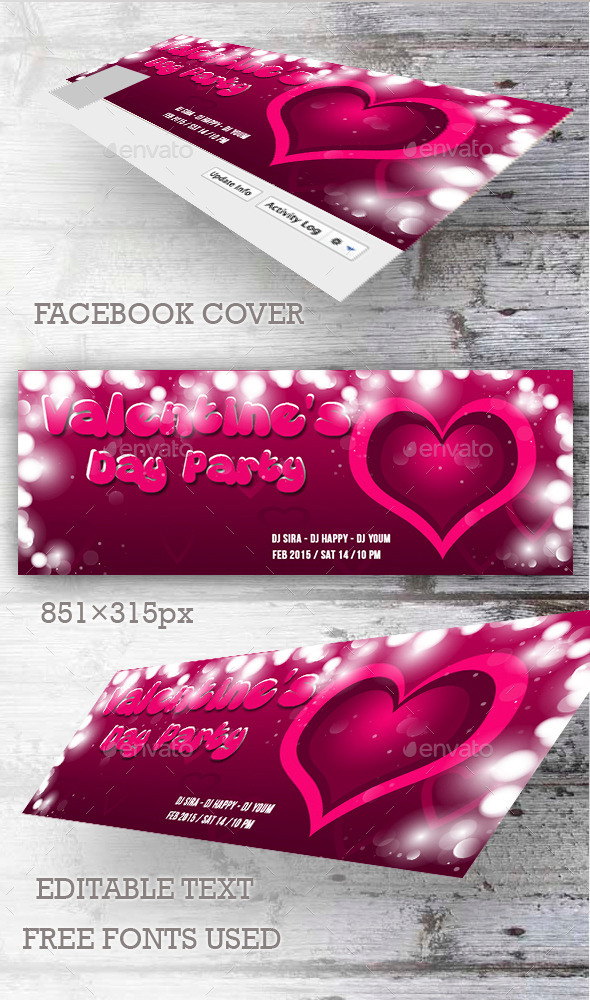 GraphicRiver Valentine s Day Party Facebook Cover 10099319