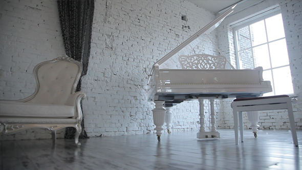 VideoHive White Room with Piano 10099374