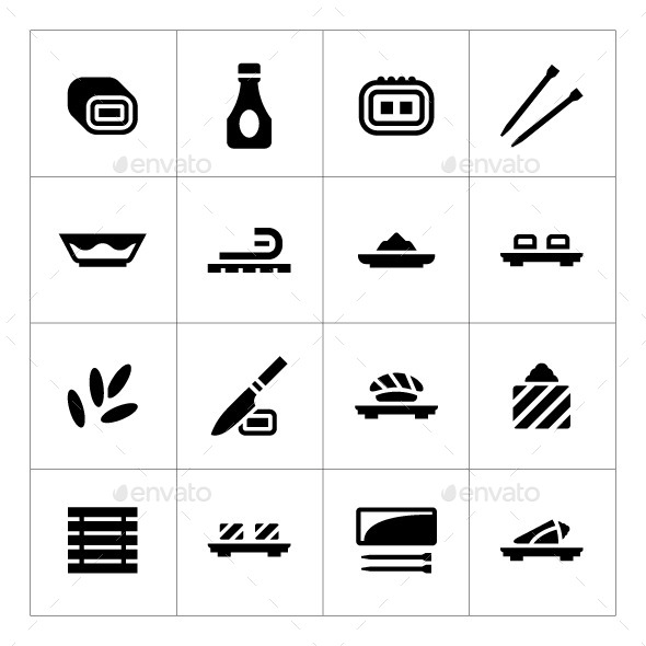 GraphicRiver Set Icons of Sushi 10099401