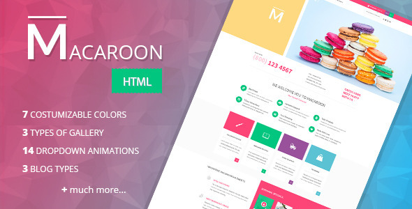 ThemeForest Macaroon Creative Patisserie HTML Template 10100308