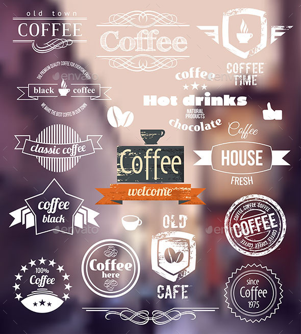 Coffee Badges Old Town Stamp Concept