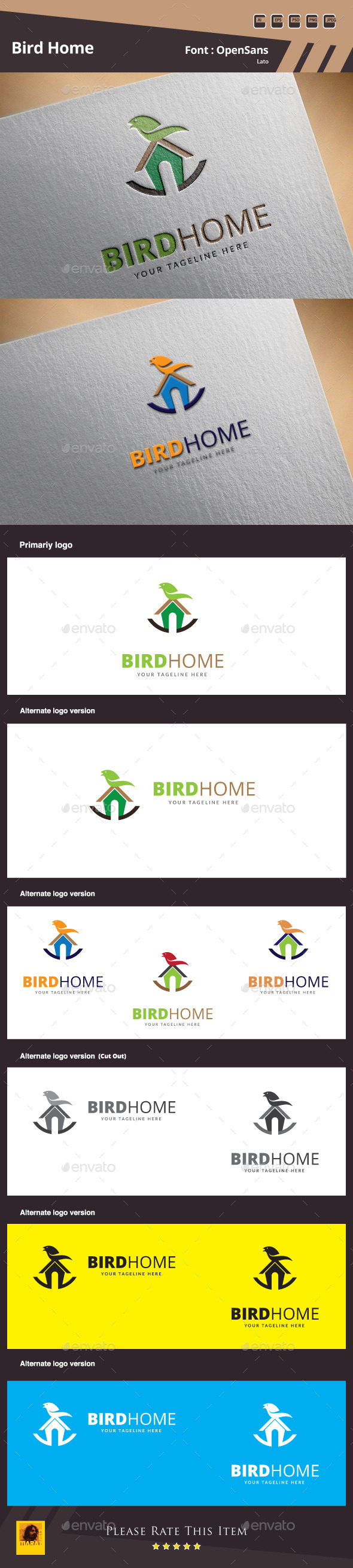 GraphicRiver Bird Home Logo Template 10100457