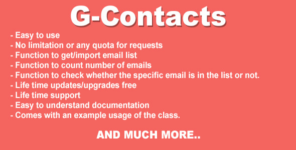 CodeCanyon G-Contacts Gmail Contact Importer PHP Class 10100460