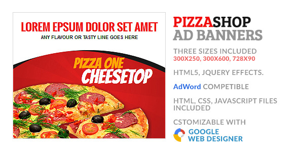 CodeCanyon Pizza Fastfood Store GWD HTML5 Ad Banner 10100868