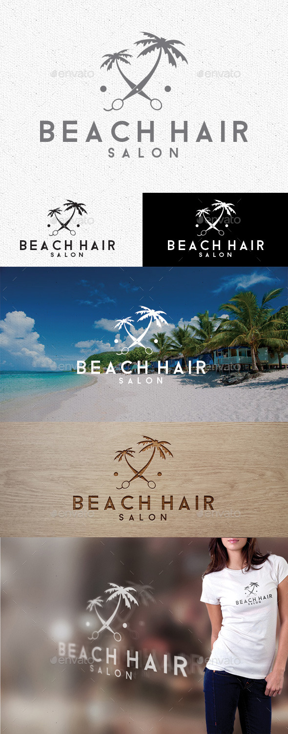 GraphicRiver Beach Hair Logo 10100956