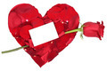 Heart with red rose love topic on Valentine's and mothers day, wedding with copyspace