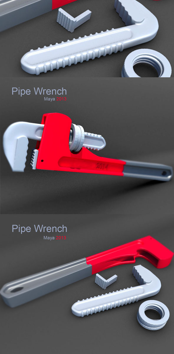 pipe wrench - 3DOcean Item for Sale