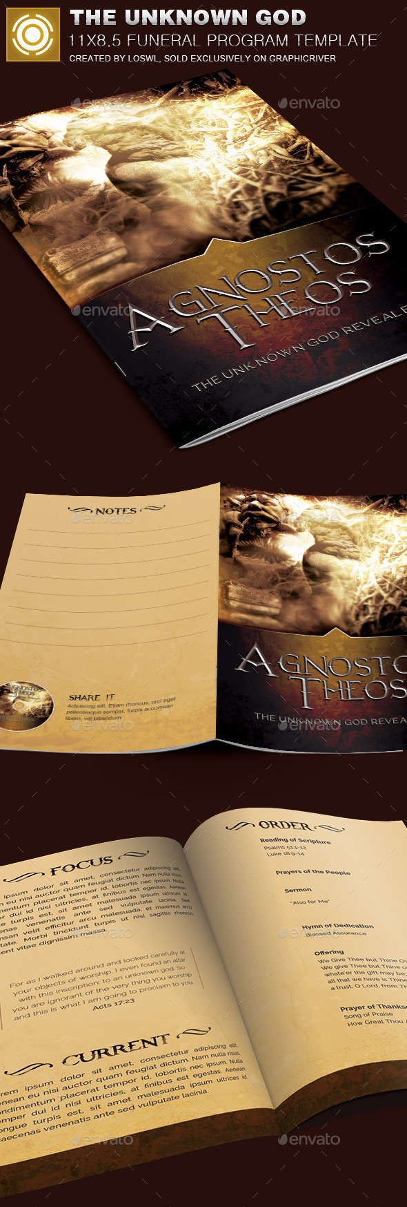 GraphicRiver The Unknown God Church Bulletin Template 10071263
