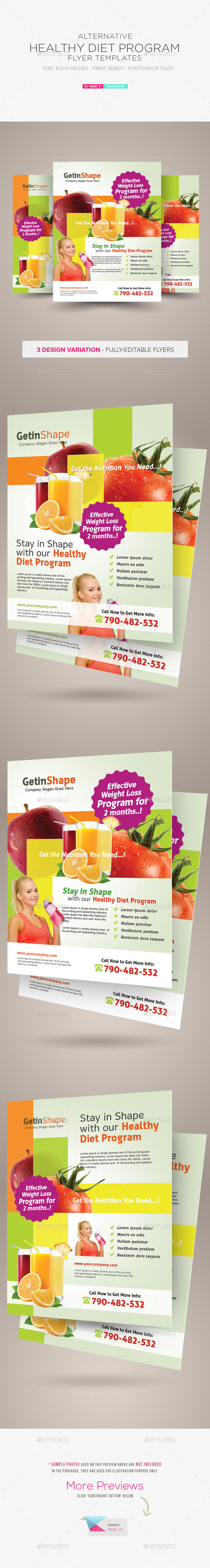 GraphicRiver Healthy Diet Program Flyers 10102281