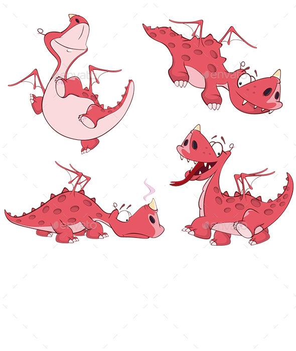 GraphicRiver Red Dragon Set 10102948