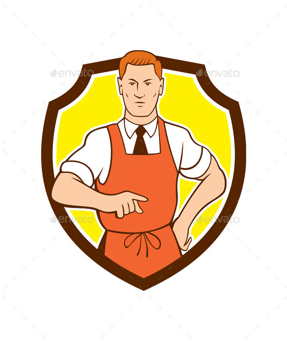 GraphicRiver Cook Chef Pointing Shield Cartoon 10103588