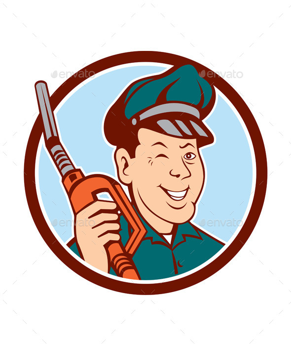 GraphicRiver Gas Attendant Nozzle Winking Circle Cartoon 10103594