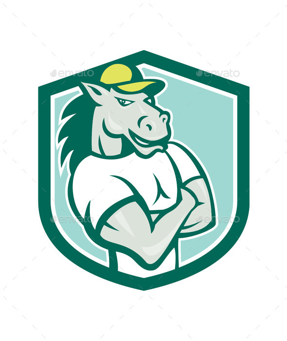 GraphicRiver Horse Arms Crossed Shield Cartoon 10103614