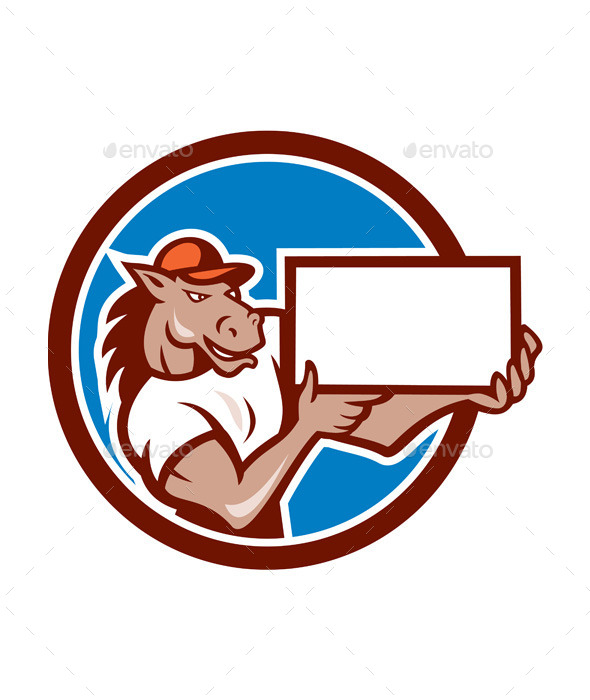 GraphicRiver Horse Presenting Blank Sheet Circle Cartoon 10103615