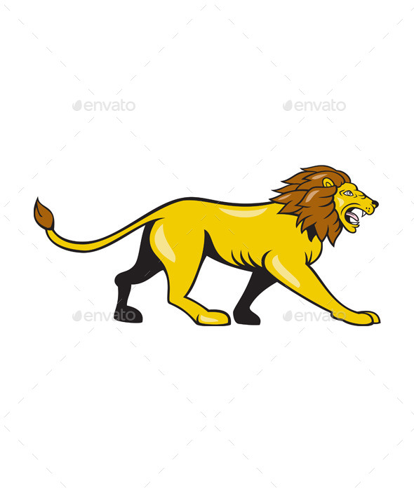 GraphicRiver Angry Lion Walking Roar Cartoon 10103627