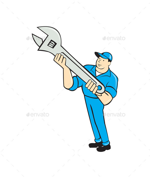 GraphicRiver Mechanic Presenting Spanner Wrench Cartoon 10103635