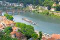 city, bridge, river and barge (top view) - PhotoDune Item for Sale