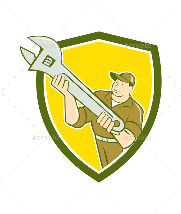 GraphicRiver Mechanic Presenting Spanner Wrench Shield Cartoon 10103645