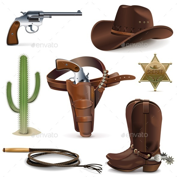 GraphicRiver Cowboy Icons 10103646