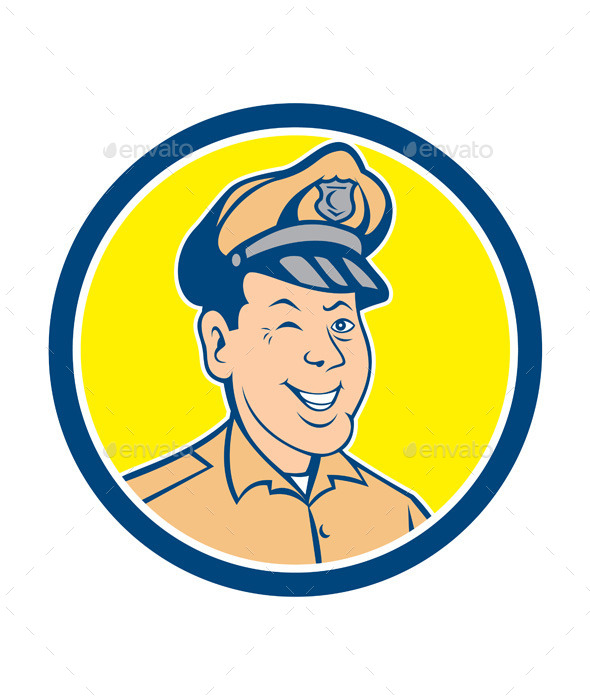 GraphicRiver Policeman Winking Smiling Circle Cartoon 10103651