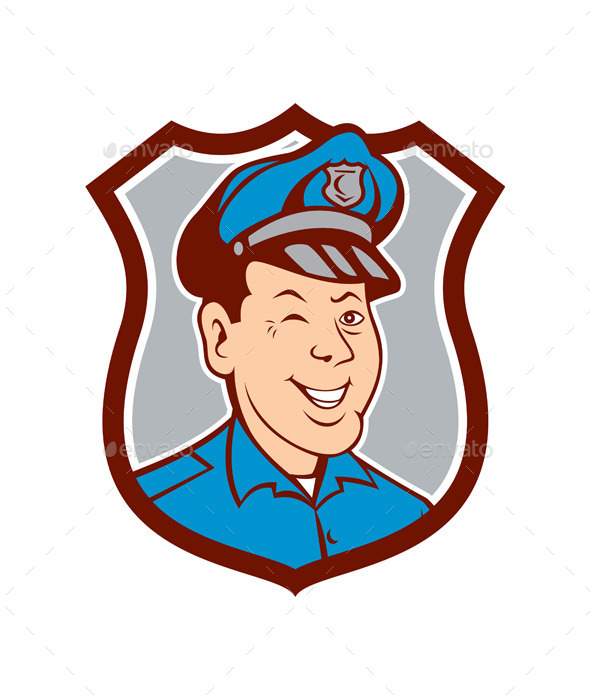 GraphicRiver Policeman Winking and Smiling Shield Cartoon 10103653