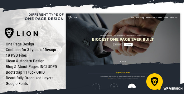 ThemeForest Lion One Page & Multipurpose Retina Theme 9994785