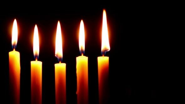 VideoHive Five Candle Burning on a Dark Background 10104523