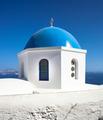 Church with blue cupola at Oia Village, Santorini island. - PhotoDune Item for Sale