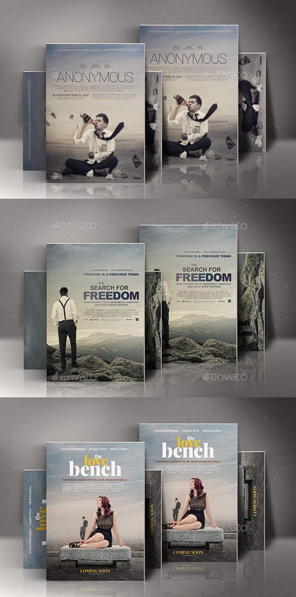 GraphicRiver Adventure Drama Romance Movie Posters Bundle 10105038