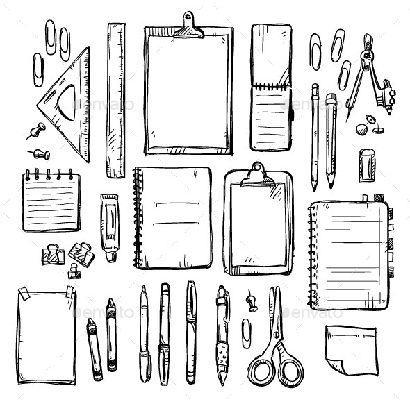 GraphicRiver Set of Stationery Drawings 10105051