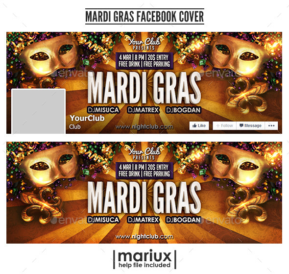 GraphicRiver Mardi Gras Facebook Cover 10105079