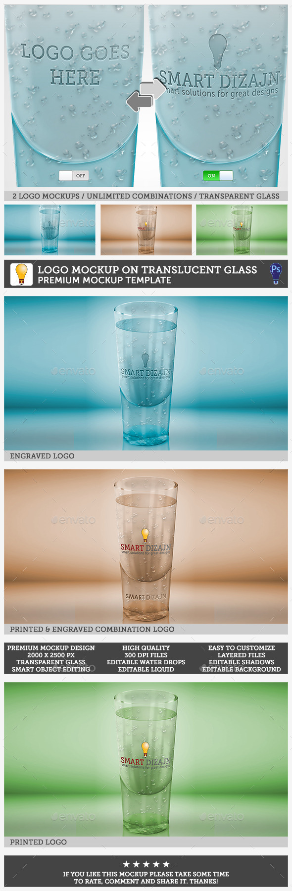 Logo Mockup on Translucent Glass Object