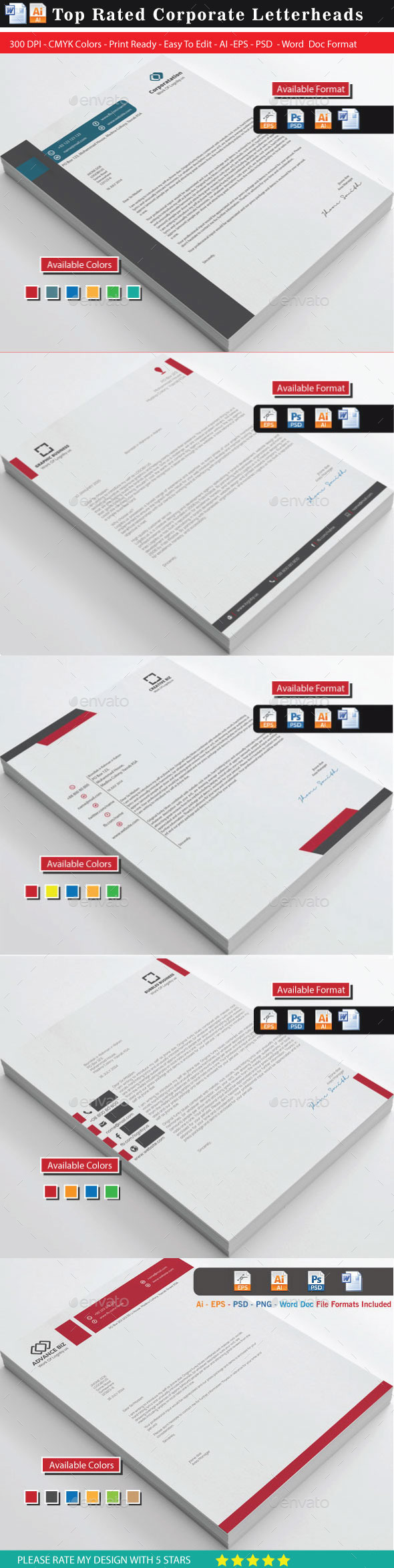 GraphicRiver 94 Top Rated Corporate Letterhead Bundle 1 10105914