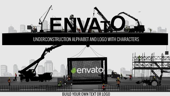 AE模板:扁平化卡通建筑工人 起重机 城市地标性标志 创意企业公司logo开场模板