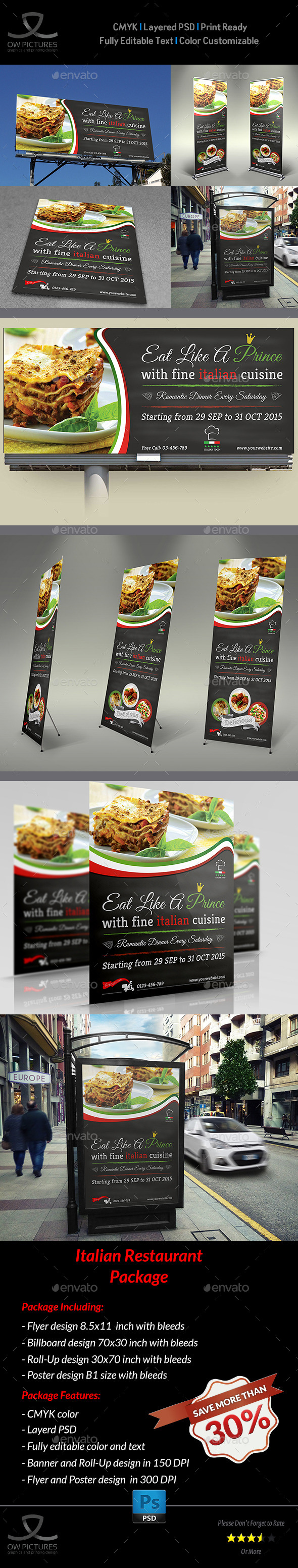 Italian Restaurant Advertising Bundle