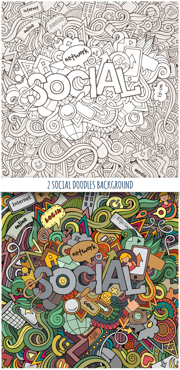 GraphicRiver 2 Social Doodles Background 10106282