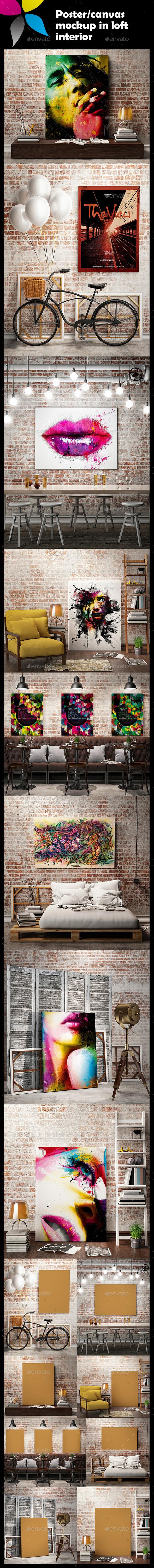 GraphicRiver Poster Canvas Mockup in Loft Interior 10106430