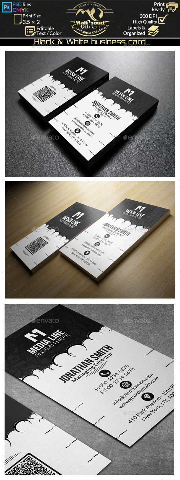 GraphicRiver Black And White Business Card 10106478