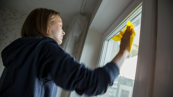 VideoHive Young Women Cleaning a Window 10106490