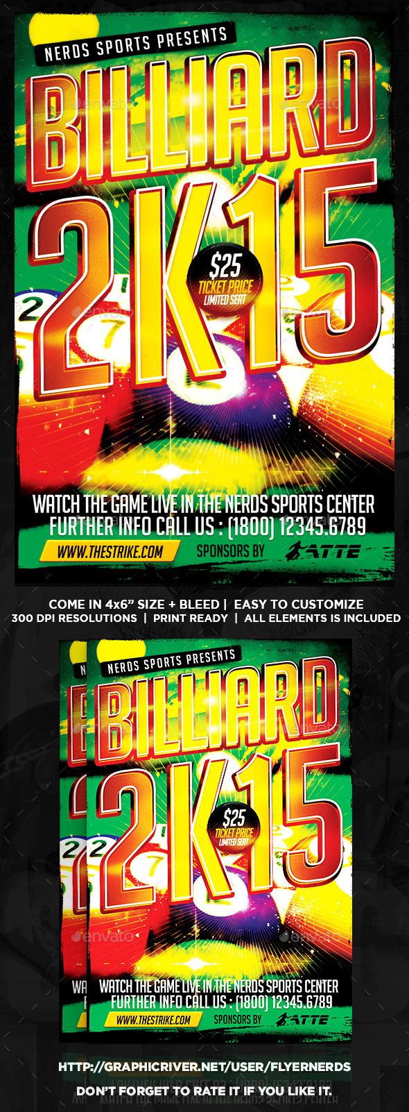 GraphicRiver Billiard 2K15 Sports Flyer 10071696