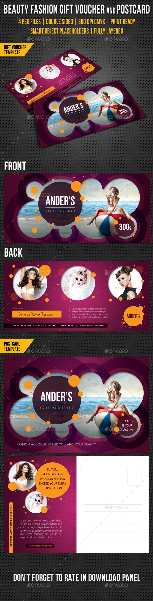 GraphicRiver Beauty Fashion Gift Voucher and Postcard V02 10106675