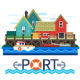 Sea Port Boats with Cargo - GraphicRiver Item for Sale