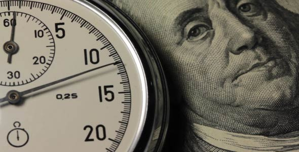 VideoHive Stopwatch On A Hundred Dollar Bill 10107394