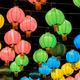 Colorful Chinese lantern illuminated at night - PhotoDune Item for Sale