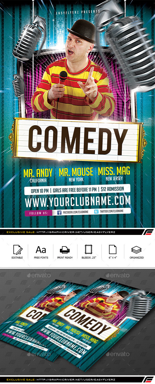 GraphicRiver Stand Up Comedy Flyer Template 10108041
