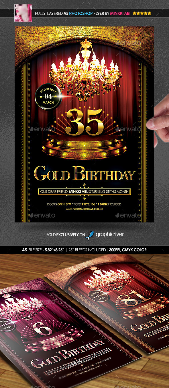 GraphicRiver Gold Birthday Poster Flyer 10108206