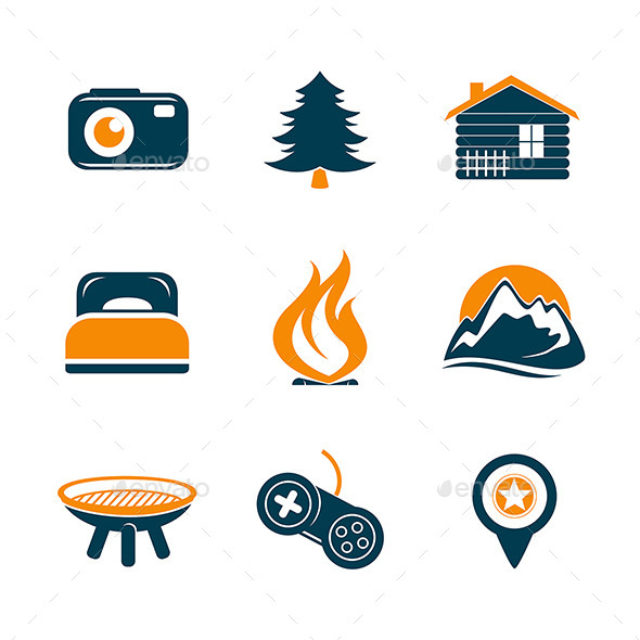 GraphicRiver Travel and Outdoor Icons Set 10108419