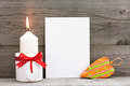 Blank Valentines greeting card with heart and candle - PhotoDune Item for Sale
